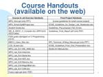 course handouts available on the web