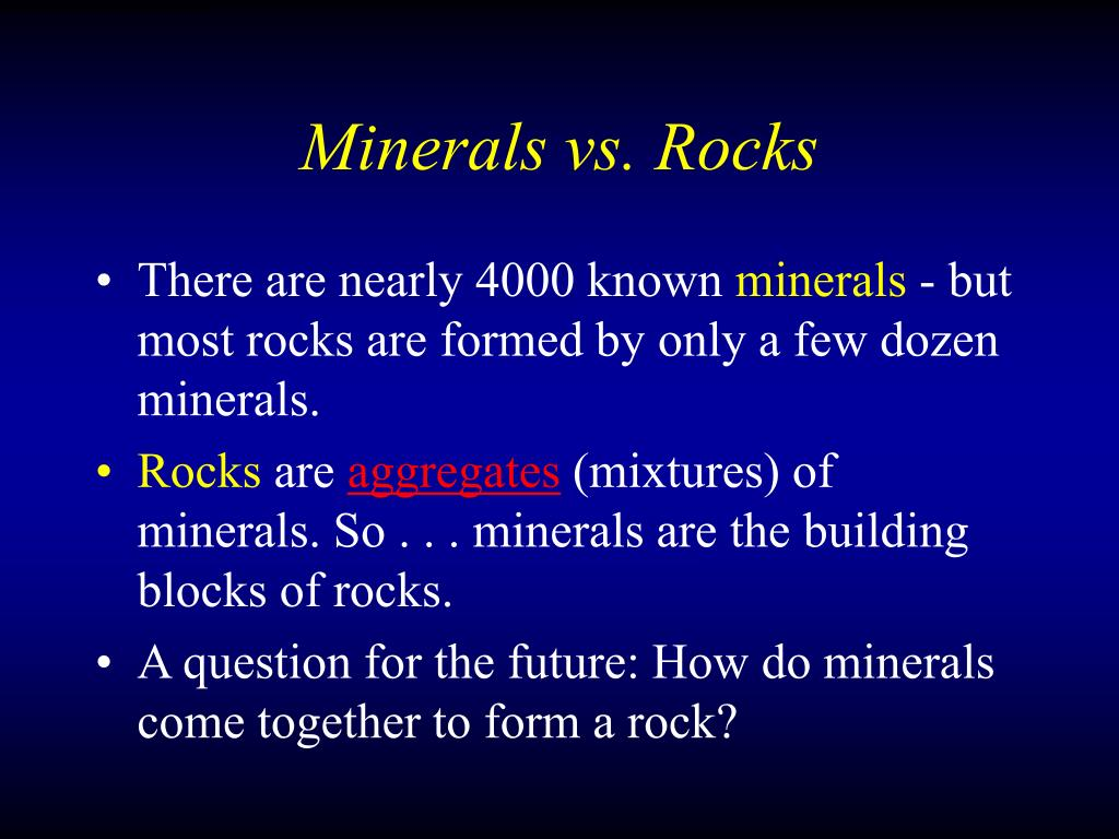 Minerals vs. Rocks
