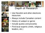 depth of research