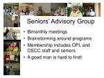 seniors advisory group