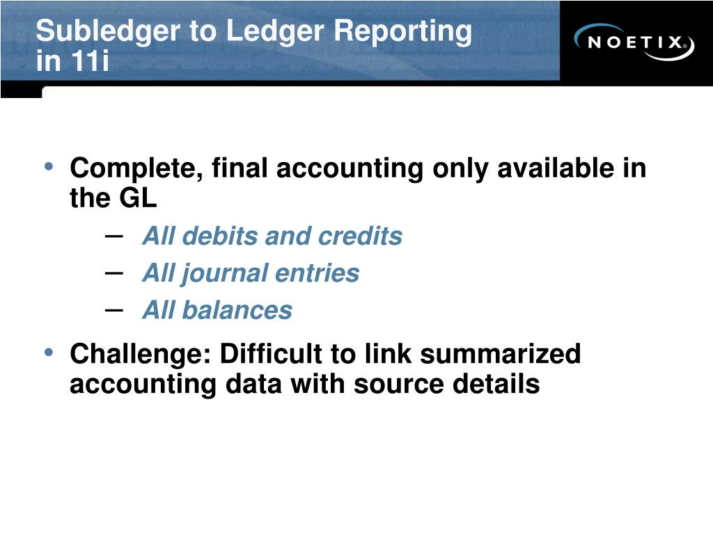 Subledger to Ledger Reporting