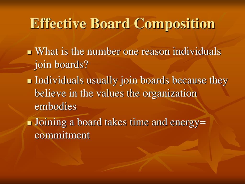 Effective Board Composition