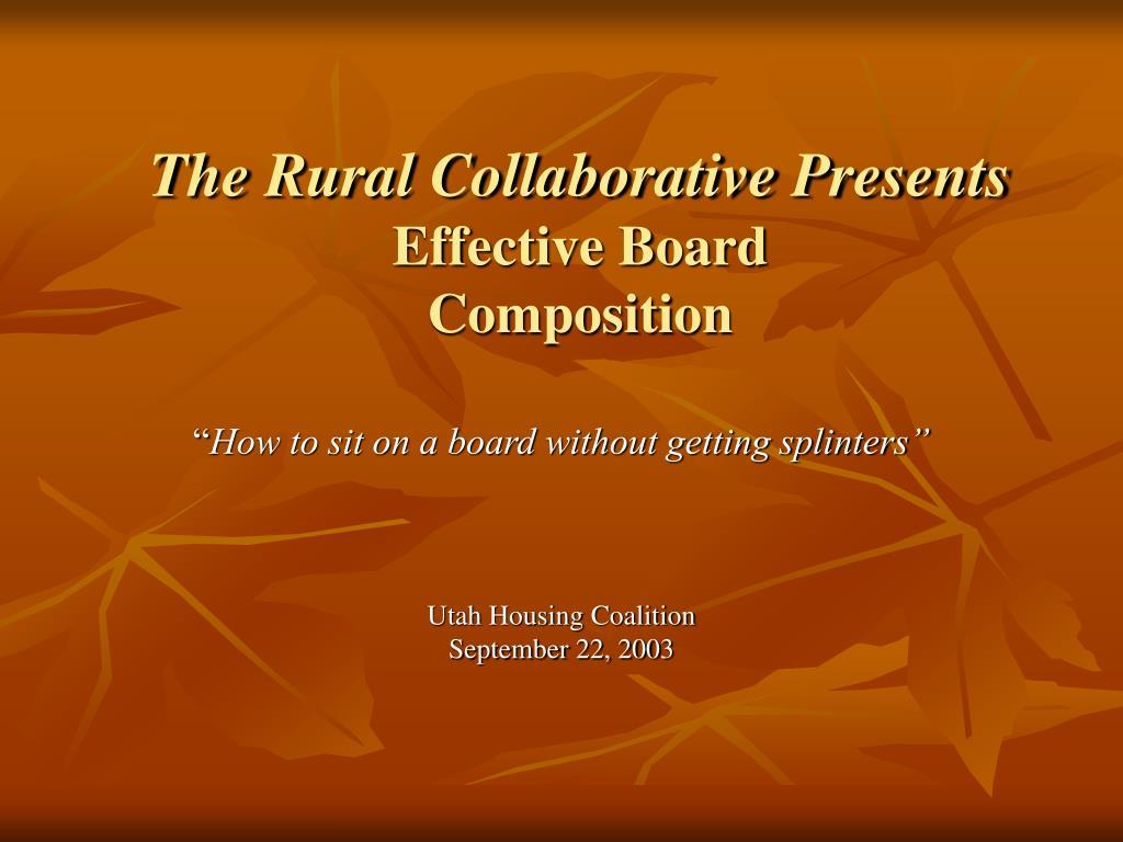the rural collaborative presents effective board composition l.