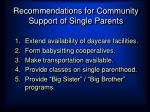 recommendations for community support of single parents