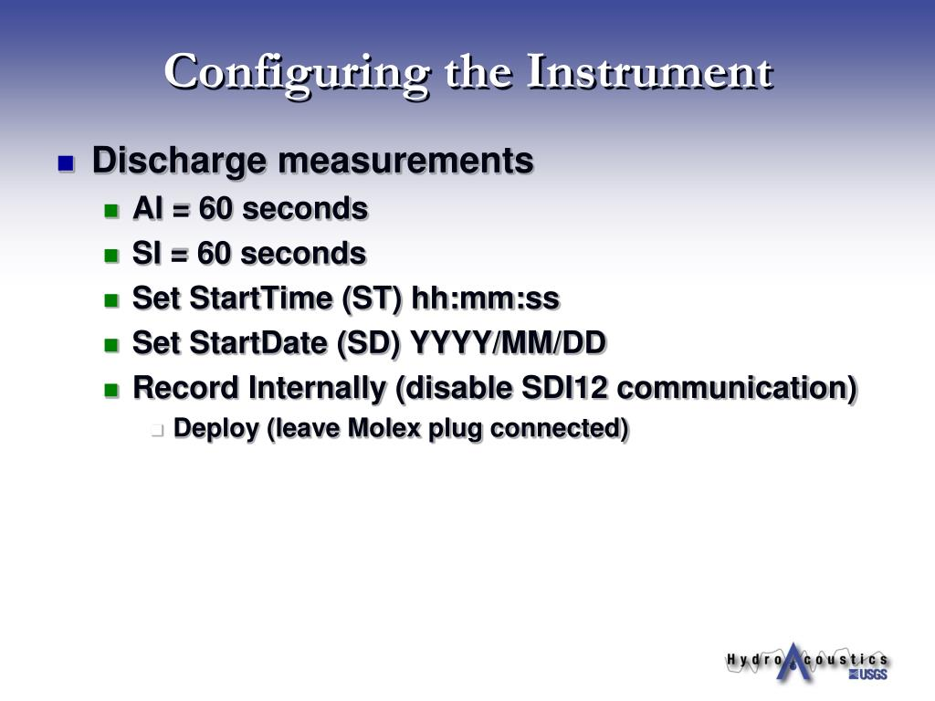 Configuring the Instrument