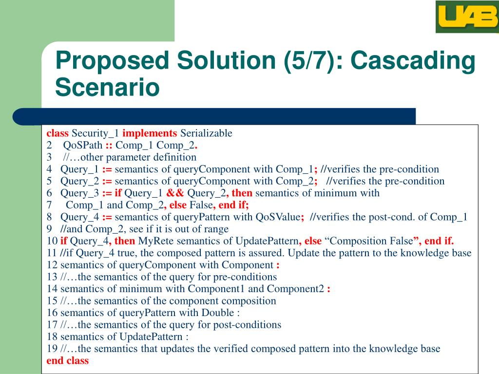 Proposed Solution (5/7): Cascading Scenario