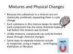 mixtures and physical changes
