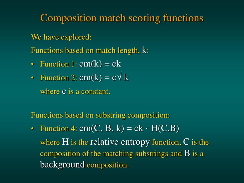 Composition match scoring functions