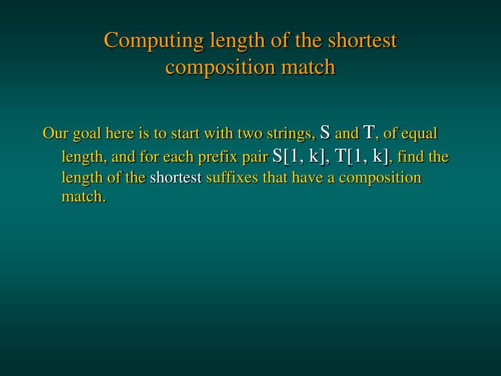 Computing length of the shortest