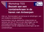 workshop tes bezoek aan een containerkraan in de haven van antwerpen