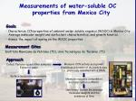 measurements of water soluble oc properties from mexico city