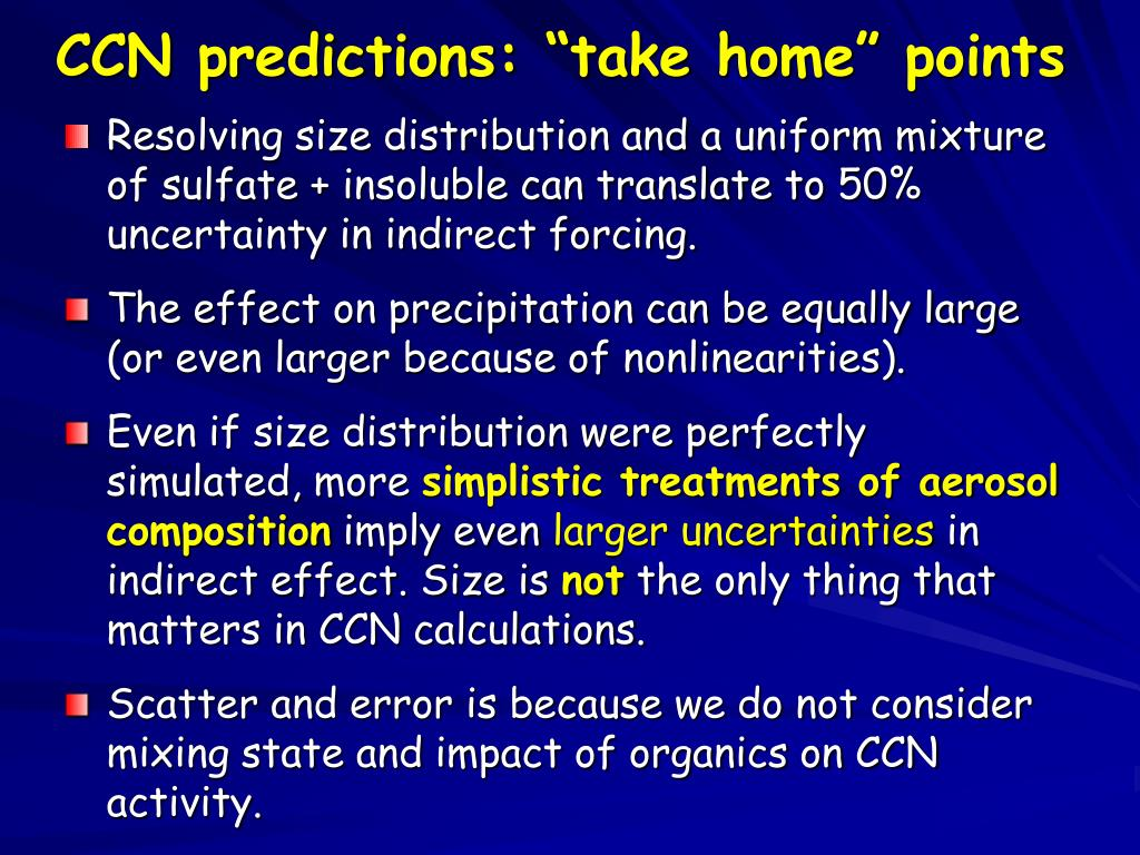 "CCN predictions: ""take home"" points"