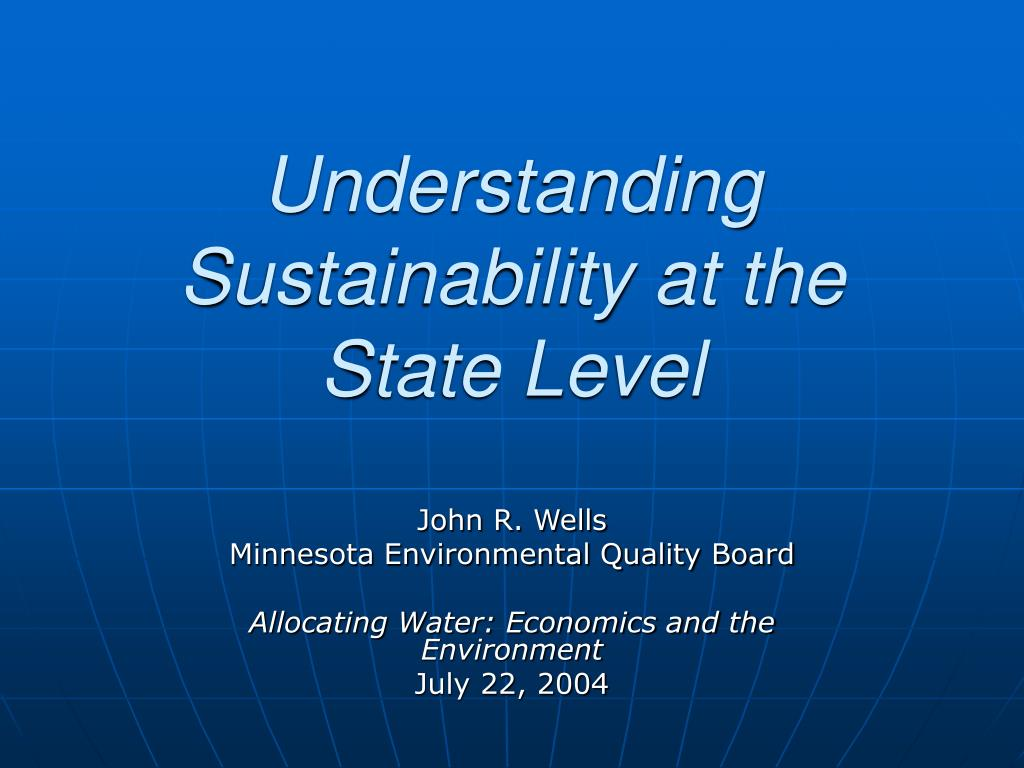 understanding sustainability at the state level l.