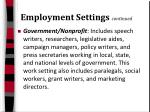 employment settings continued22