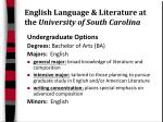 english language literature at the university of south carolina
