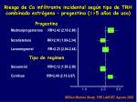 riesgo de ca infiltrante incidental seg n tipo de trh combinado estr geno progestina 5 a os de uso