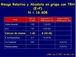 riesgo relativo y absoluto en grupo con trh e p n 16 608