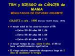 trh y riesgo de c ncer de mama resultados de estudio cohorte