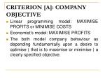 criterion a company objective