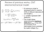 review of previous works cnt electromechanical model26