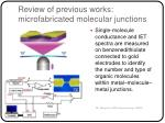 review of previous works microfabricated molecular junctions
