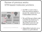 review of previous works stm based molecular junctions