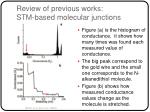 review of previous works stm based molecular junctions17