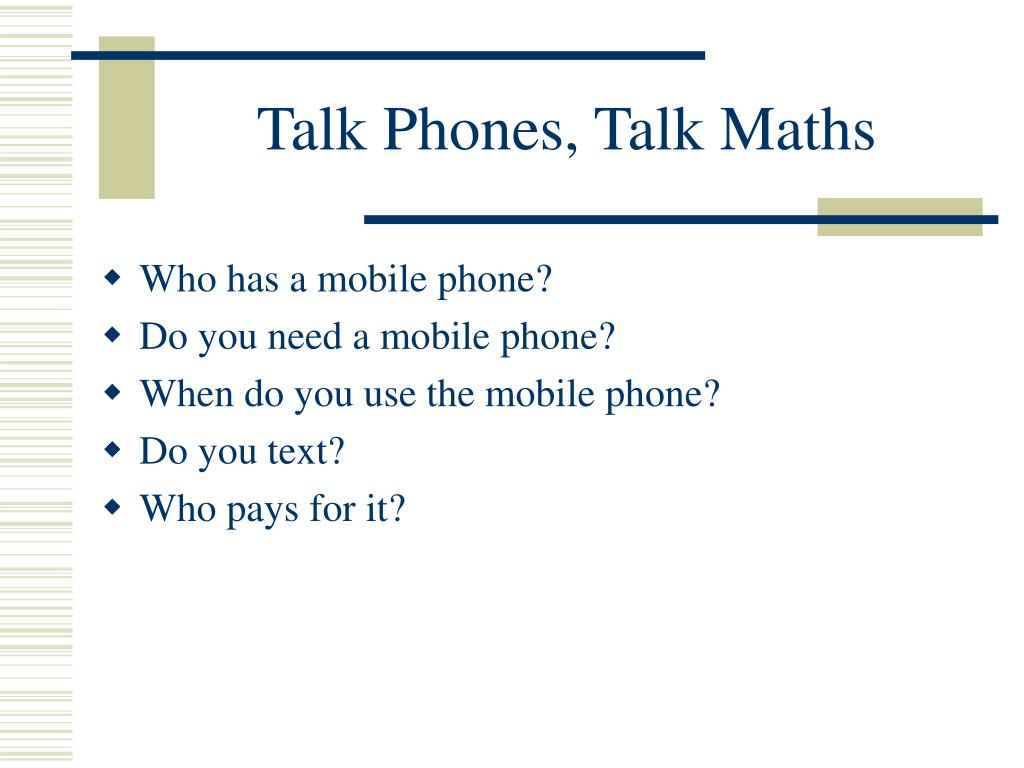 talk phones talk maths l.