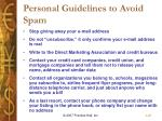 personal guidelines to avoid spam