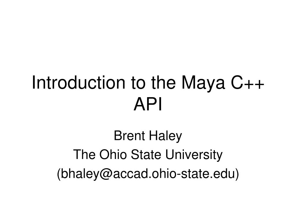 introduction to the maya c api l.