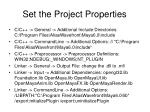 set the project properties