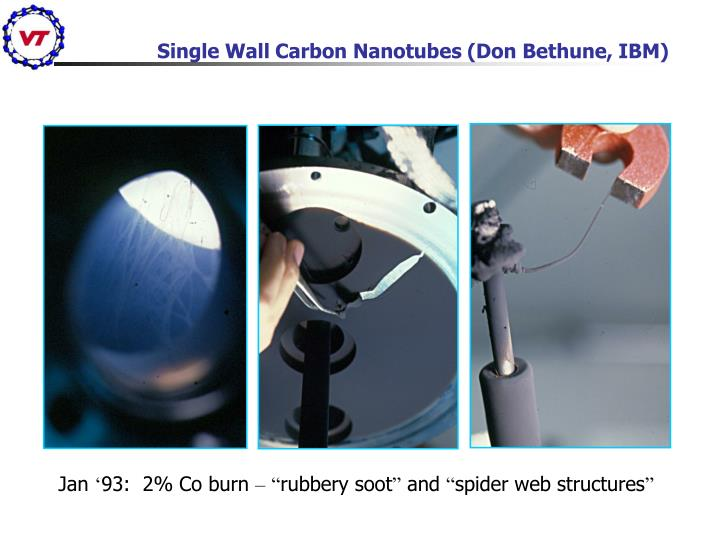Single Wall Carbon Nanotubes (Don Bethune, IBM)