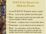 focus for success on midterm exams