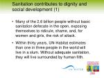 sanitation contributes to dignity and social development 1