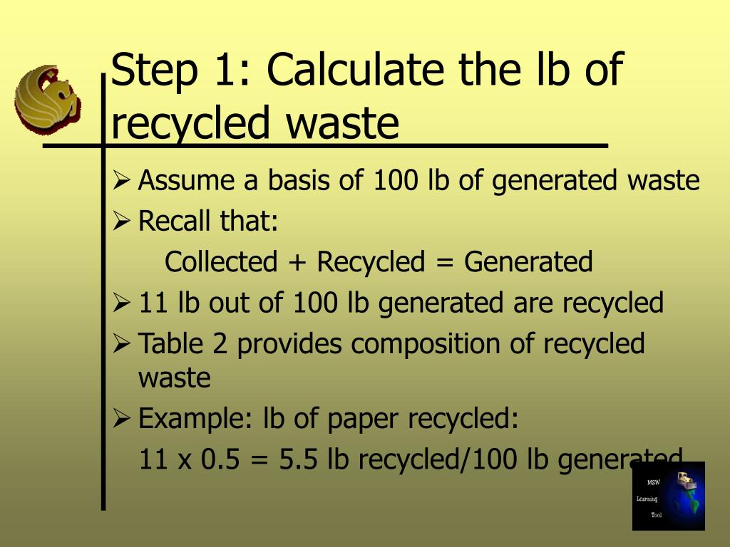 Step 1: Calculate the lb of recycled waste