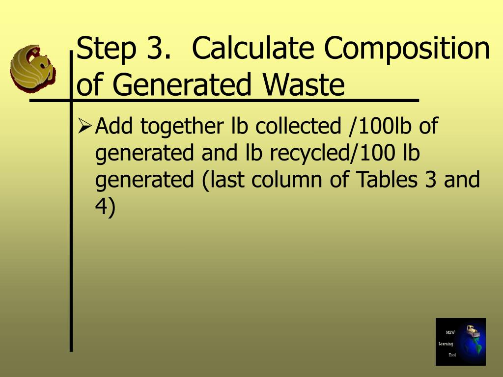 Step 3.  Calculate Composition of Generated Waste
