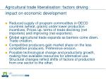 agricultural trade liberalisation factors driving impact on economic development