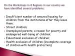 on the workshops in 8 regions in our country we have identified several problems
