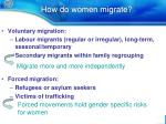 how do women migrate