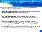 migration brings opportunities for health