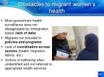 obstacles to migrant women s health