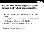 analysis of southwark gp patient register composition by loac geodemographic