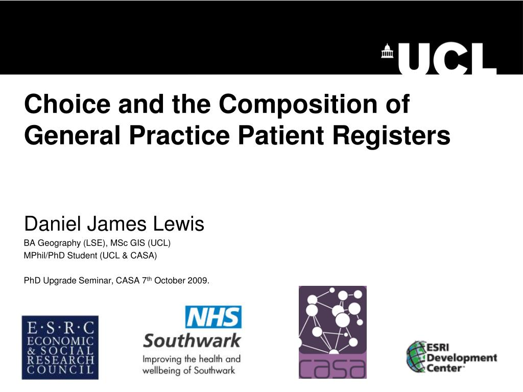 choice and the composition of general practice patient registers l.