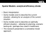 spatial models analytical efficiency divide