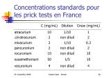 concentrations standards pour les prick tests en france