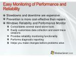 easy monitoring of performance and reliability