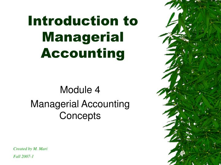 introduction to managerial accounting n.