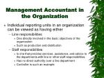management accountant in the organization