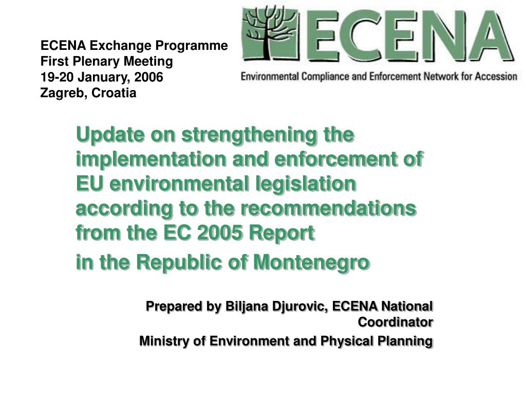 ecena exchange programme first plenary meeting 19 20 january 2006 zagreb croatia l.