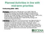 planned activities in line with mid term priorities